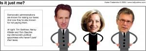 Tim Geithner, Tom Daschle, and Nancy Killefer